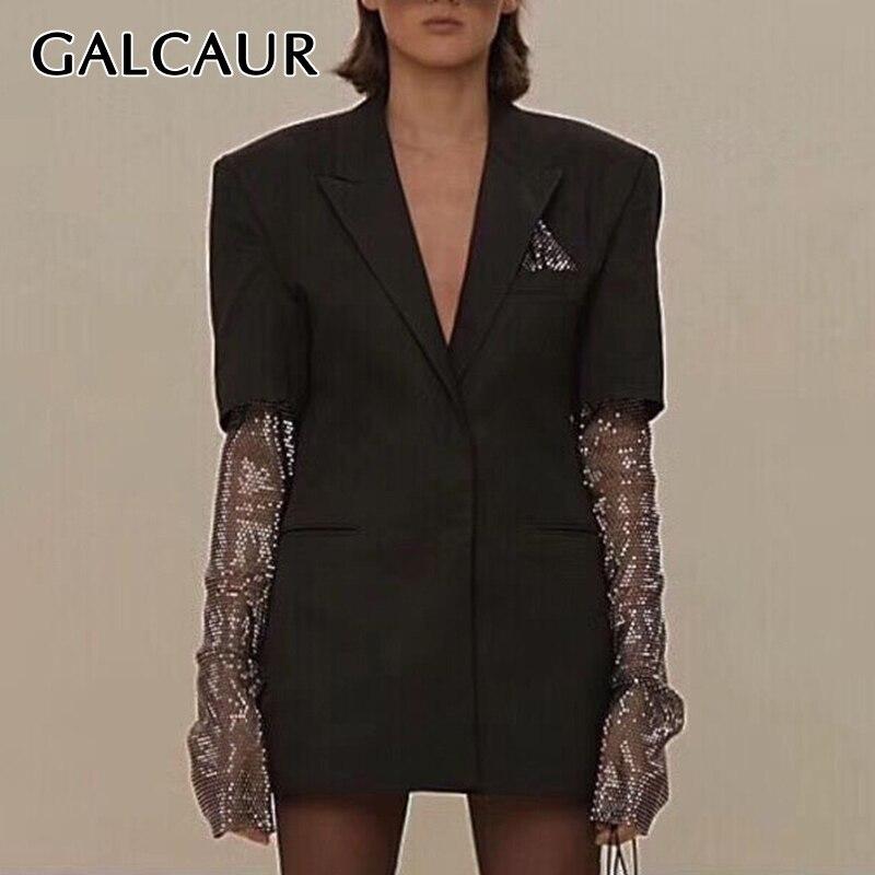 GALCAUR Diamond Patchwork Women's Blazer Notched Long Sleeve Solid Slim Elegant Female Summer Coats 2019 Fashion Clothing New