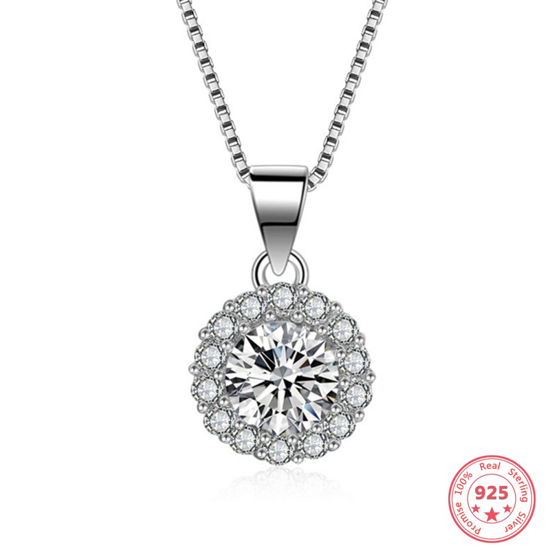Real Pure Silver 925 FL Diamond Pendants For Women White Topaz Gemstone Solid 100% 925 Sterling Silver Necklace Pendant Girl