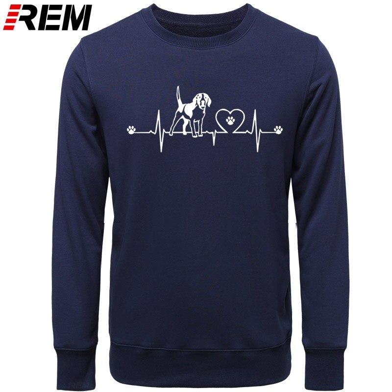 Image 3 - レムおかしいハートビートのビーグル男性長袖綿ファッションノベルティビーグル犬はパーカー、スウェットパーカー & スウェット   -