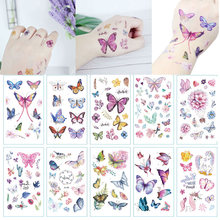10 pièces enfants tatouages temporaires coloré papillon faux tatouage autocollant Tatoo étanche Tatto Art main pied tatouage pour les femmes filles