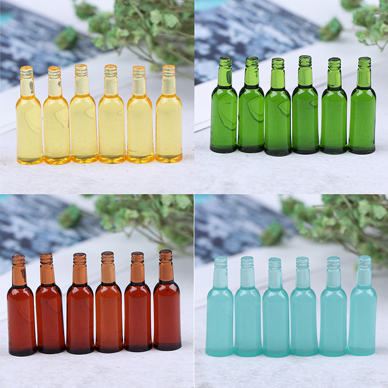 6Pcs 1:12 Dollhouse Miniature Toy Beer Wine Drink Bottle Doll Food Kitchen Living Room Accessories