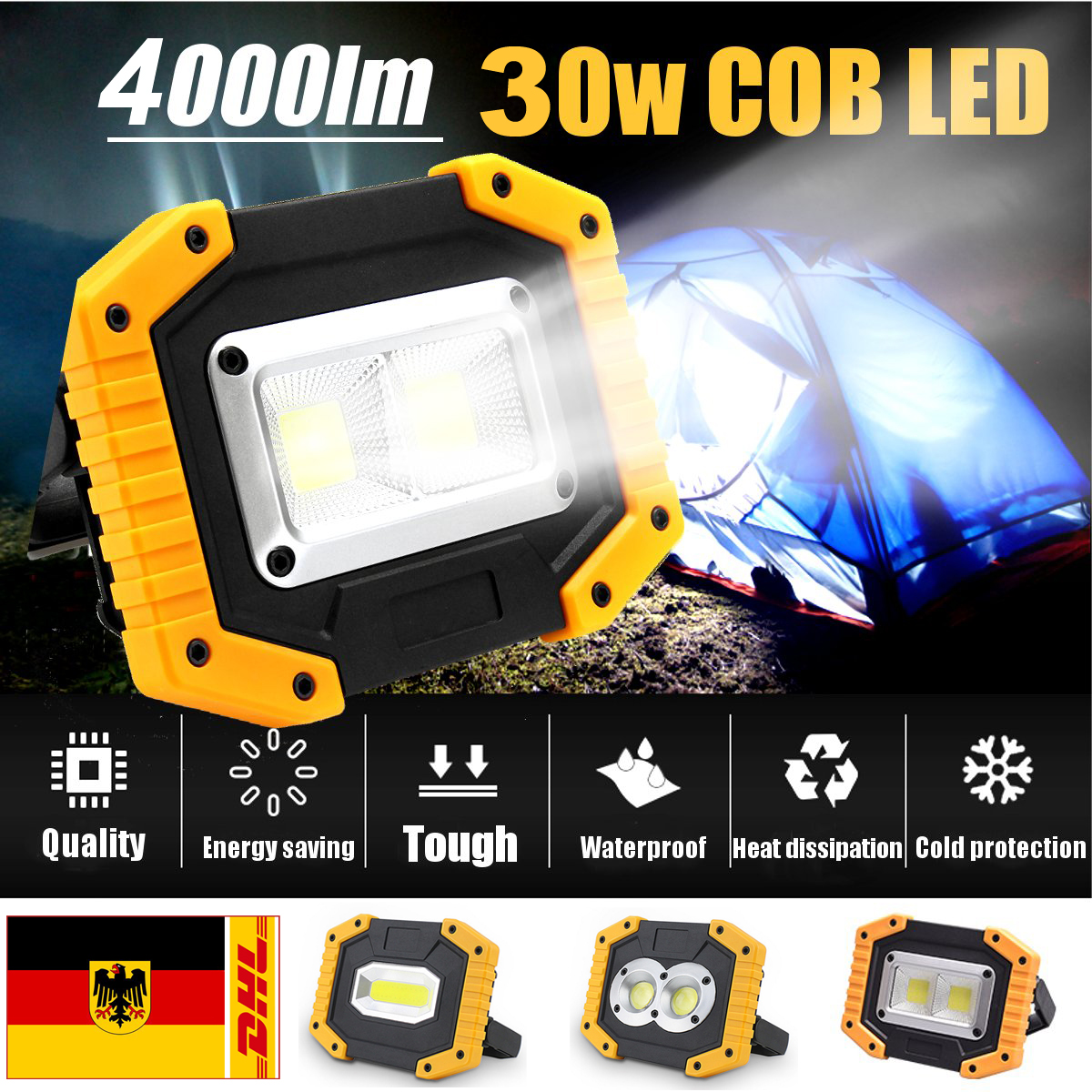 30W 400lm Cob Work Light Portable Spotlight Rechargeable LED Flashlight For Outdoor Camping Led Work Light Lantern