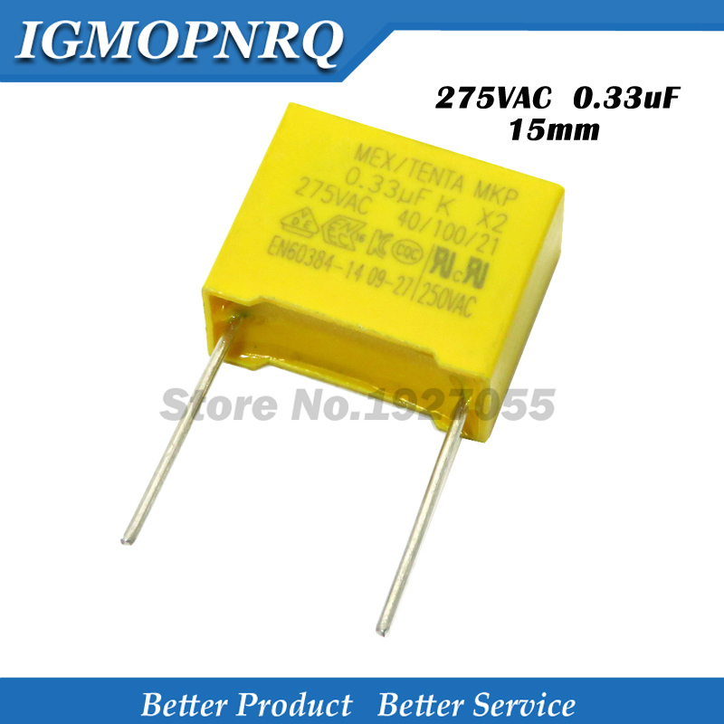 20pcs 330nF Capacitor X2 Capacitor 275VAC Pitch 15mm X2 Polypropylene Film Capacitor 0.33uF