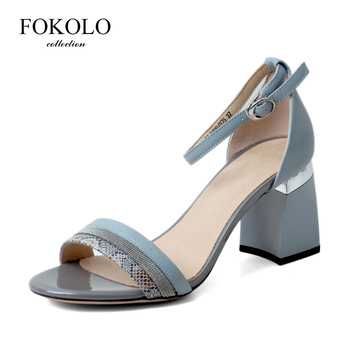 FOKOLO 2020 New Summer Sandals for Women Blue Fashion Leather High Heels Snakeskin Pattern on Upper Party Sexy Women's Shoes L6