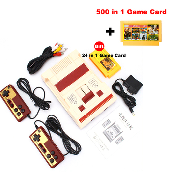 Retro Classic Nostalgic 8 Bit Video Games Console Player + Dual Gamepads+500 IN 1 Game Card AV Output For FC NES TV Game Console 9