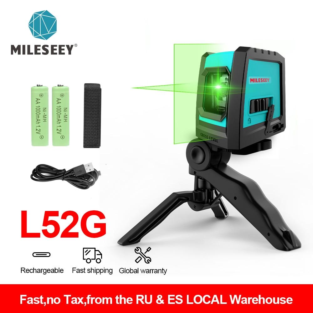 Mileseey 2020 New 2 Lines Laser Level L52R Professional Vertical Cross Laser Leveler with Battery and Tripod лазерный уровень