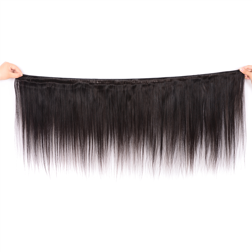 Karizma Peruvian Straight Hair Bundles With Frontal 13x4 Closure 100% Human Hair Bundles With Frontal Non Remy Hair Extension