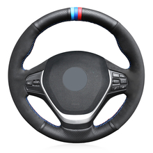 Black Suede Genuine Leather Car Steering Wheel Cover for BMW F20 2012-2018 F45 2014-2018 F30 F31 F34 2013-2017 F32 F33 F36 2014 universal replacement carbon fiber mirror cover for bmw rearview door mirror covers x1 f20 f22 f30 gt f34 f32 f33 f36 m2 f87 e84