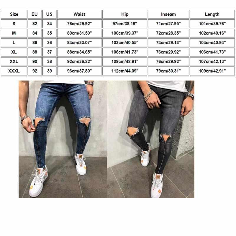 Mens Cool Designer Brand Black Jeans Skinny Zipper Ripped Destroyed Stretch Slim Fit Hop Hop Pants With Holes For Men