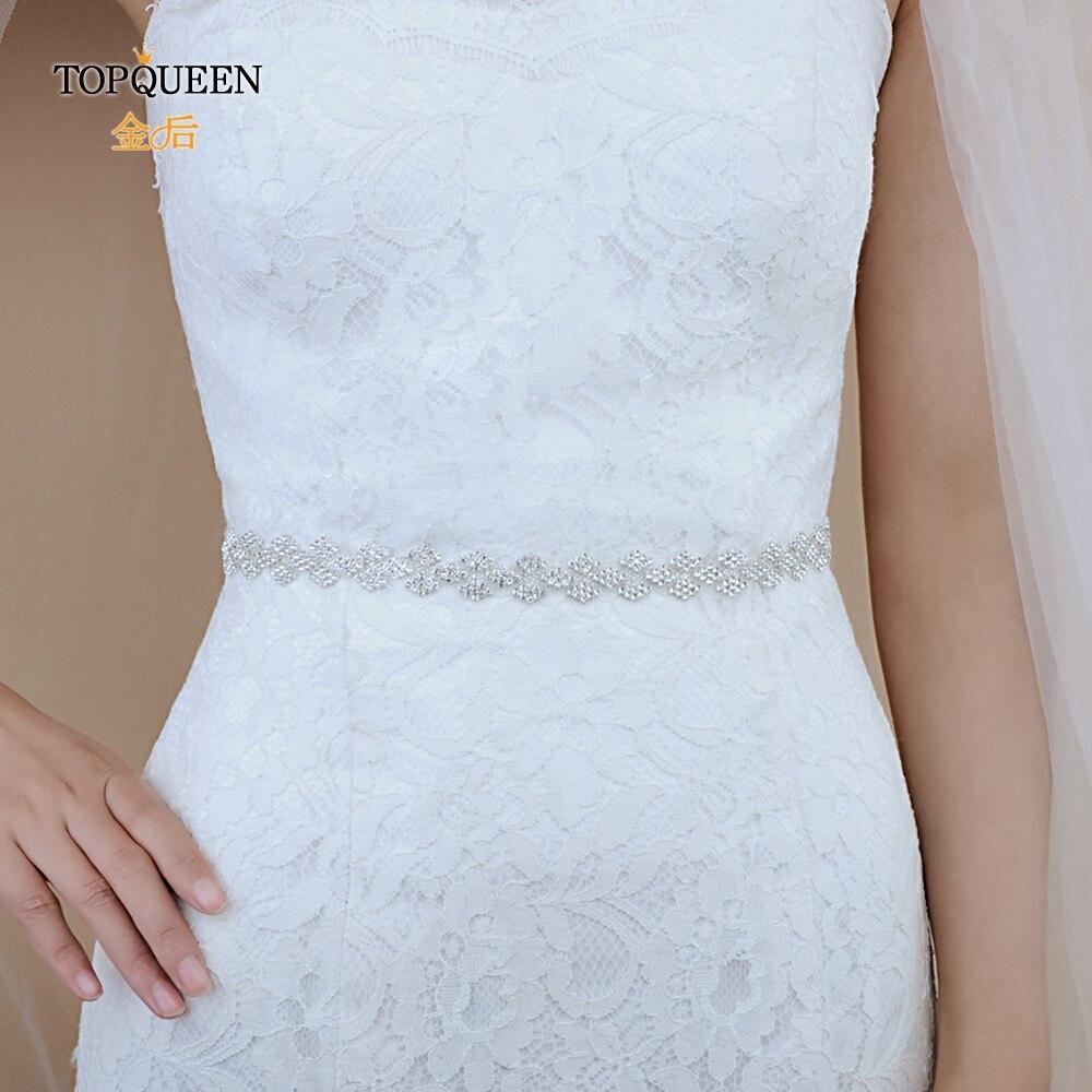 TOPQUEEN S55 Wedding Belt Rhinestone Belt Wedding Dress Belt Sliver Diamond Belt For Evening Dress Satin Ribbon Belt With Alloy