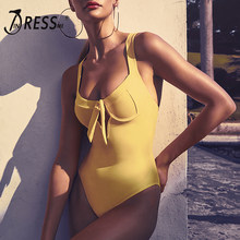 INDRESSME Solid Bodycon Romper Sexy Deep V Bow Backless Strapless Women Bandage Lovely Bodysuits Spring Summer Jumpsuits 2019(China)