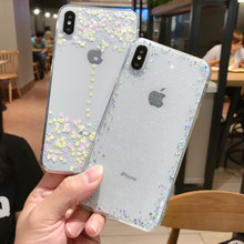 Crispyfish Glitter estrellas lindas transparente suave TPU funda de silicona para iphone 7 8 Plus funda limpia para iphone 6 6s X XR XS.(China)