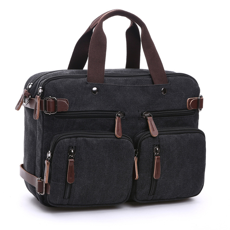 Casual Canvas Bag Business Briefcase Hand Shoulder Three-purpose Bag Large Can Put 17-Inch Laptop