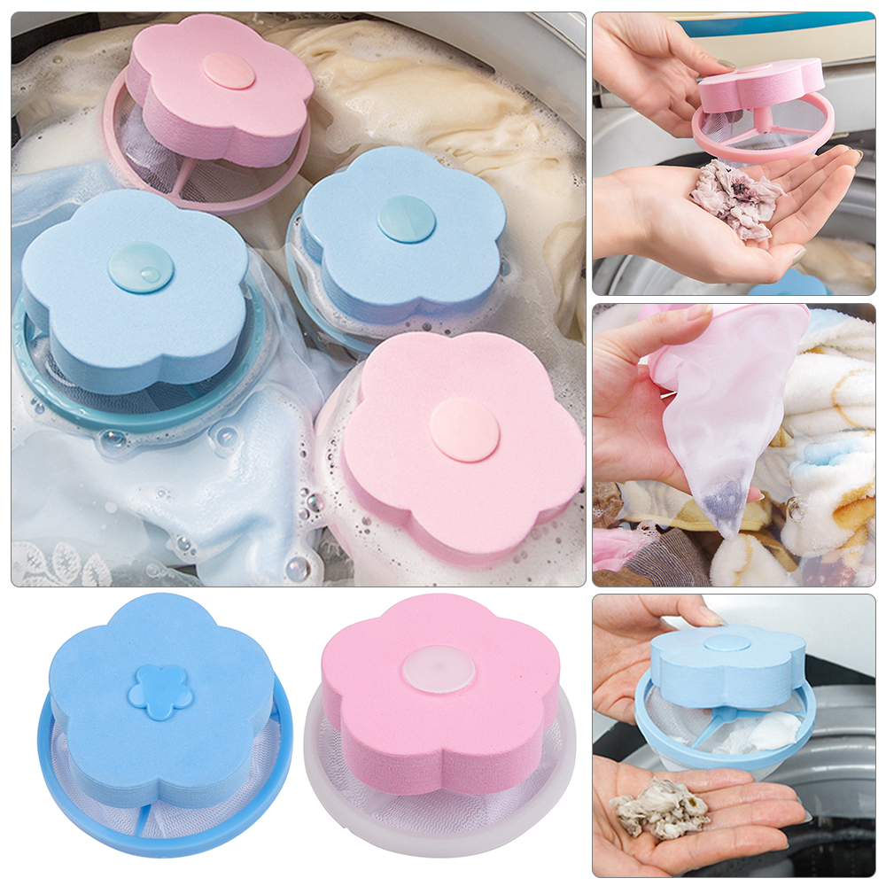 Laundry Mesh Filter Bag Washing Machine Cleaning Pouch Flower Shaped Floating Hair Catcher Bag Debris Fur Removal Net Lint Bag