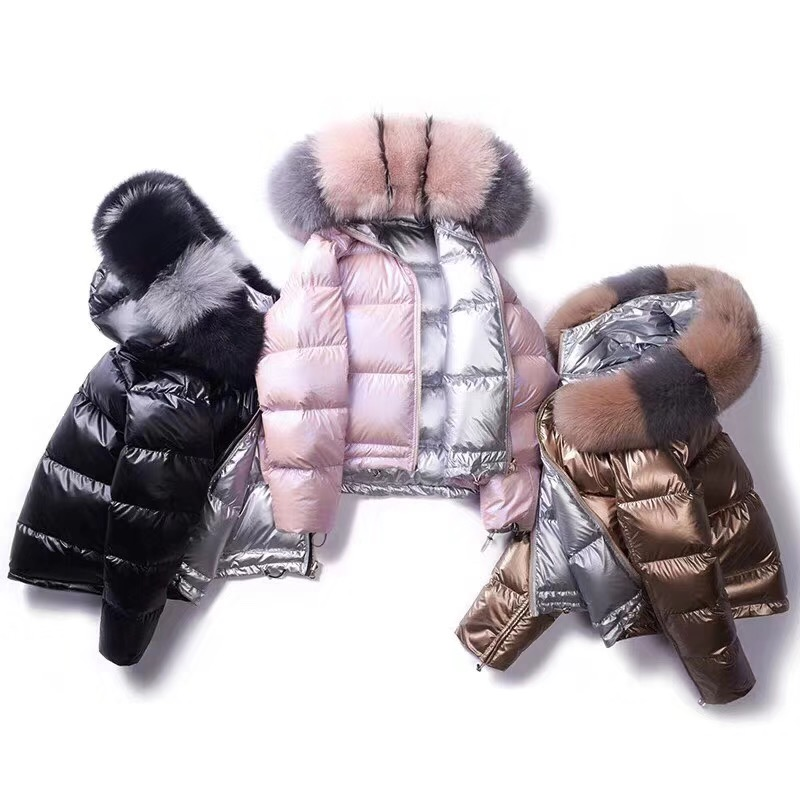 New Winter Thick Warm Gold Shiny Duck   Down   Jacket Fashion Faux Fox Fur Collar Hat Hooded Short   Down     Coat   Clothes Woman Parkas
