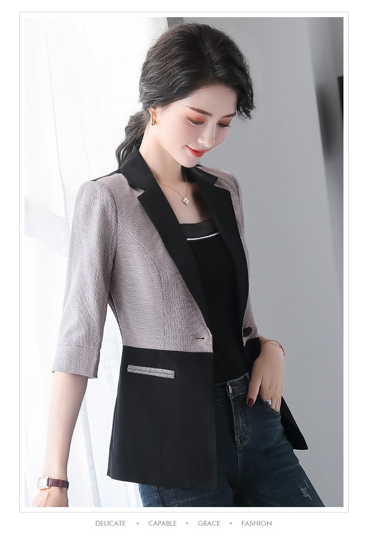 2020 new Korean spring and summer casual mid-sleeved small suit jacket ladies work clothes formal Slim fit feminine jacket