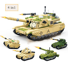 4in1 698pcs M1A2 1:28 Main Battle Tank Building Blocks Modern Military Model Kits Legoinglys Army Bricks Toys for Children Gifts(China)