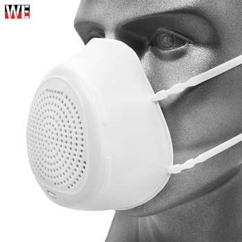 WOSAWE Motorcycle Face Mask PM2.5 Smart Electric Mask Anti Dust Pollution Fresh Air Purifying Washable Face Mask Face Shield
