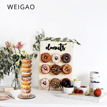 WEIGAO Wooden Wall Holds Donut Boards Stand Hanging Donuts Table Wedding Decoration Baby Shower Kids Birthday Party Decor