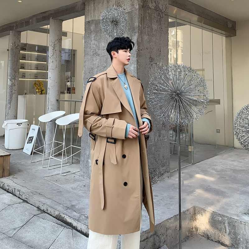 Masculino solto longo jaqueta casaco blusão masculino estilo japão streetwear vintage moda casual khaki trench coat outerwear