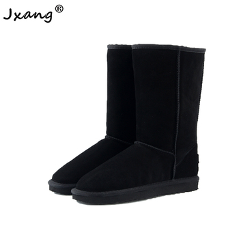 JXANG High Quality Brand  Snow Boots Women Fashion Genuine Leather Australia Classic Womens Boot Winter Shoes