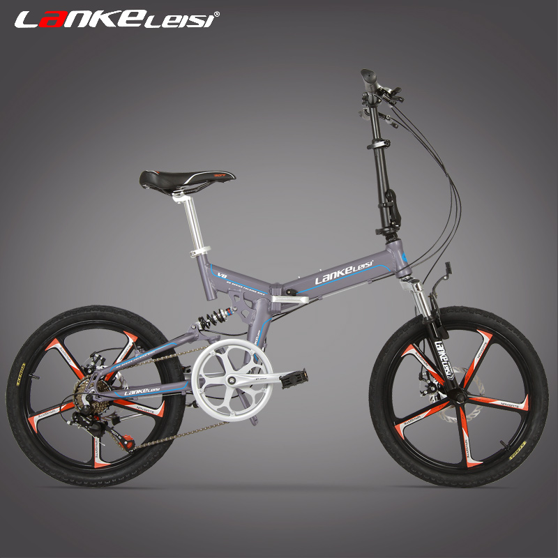 V8 20 Inches Folding Bicycle, Integrated Magnesium Alloy Rim, Both Disc Brakes, Top Quality Speed Control System 7 Speed