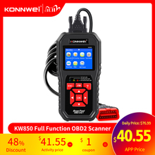 KONNWEI KW850 OBD2 Auto Diagnostic Scanner Tools OBD 2 Car Diagnostic Tool Check Engine Automotive Car Scanner Code Reader Black