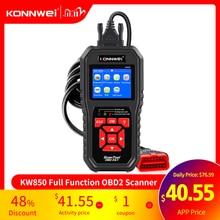 KONNWEI KW850 OBD2 السيارات أدوات ماسح ضوئي تشخيصي OBD 2 سيارة أداة تشخيص تحقق محرك السيارات ماسح الرادار الخاص بالسيارة رمز القارئ الأسود