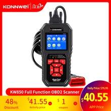 Konnwei kw850 obd2 scanner de diagnóstico automático ferramentas obd 2 ferramenta de diagnóstico do carro verificação do motor automotivo leitor de código do carro preto