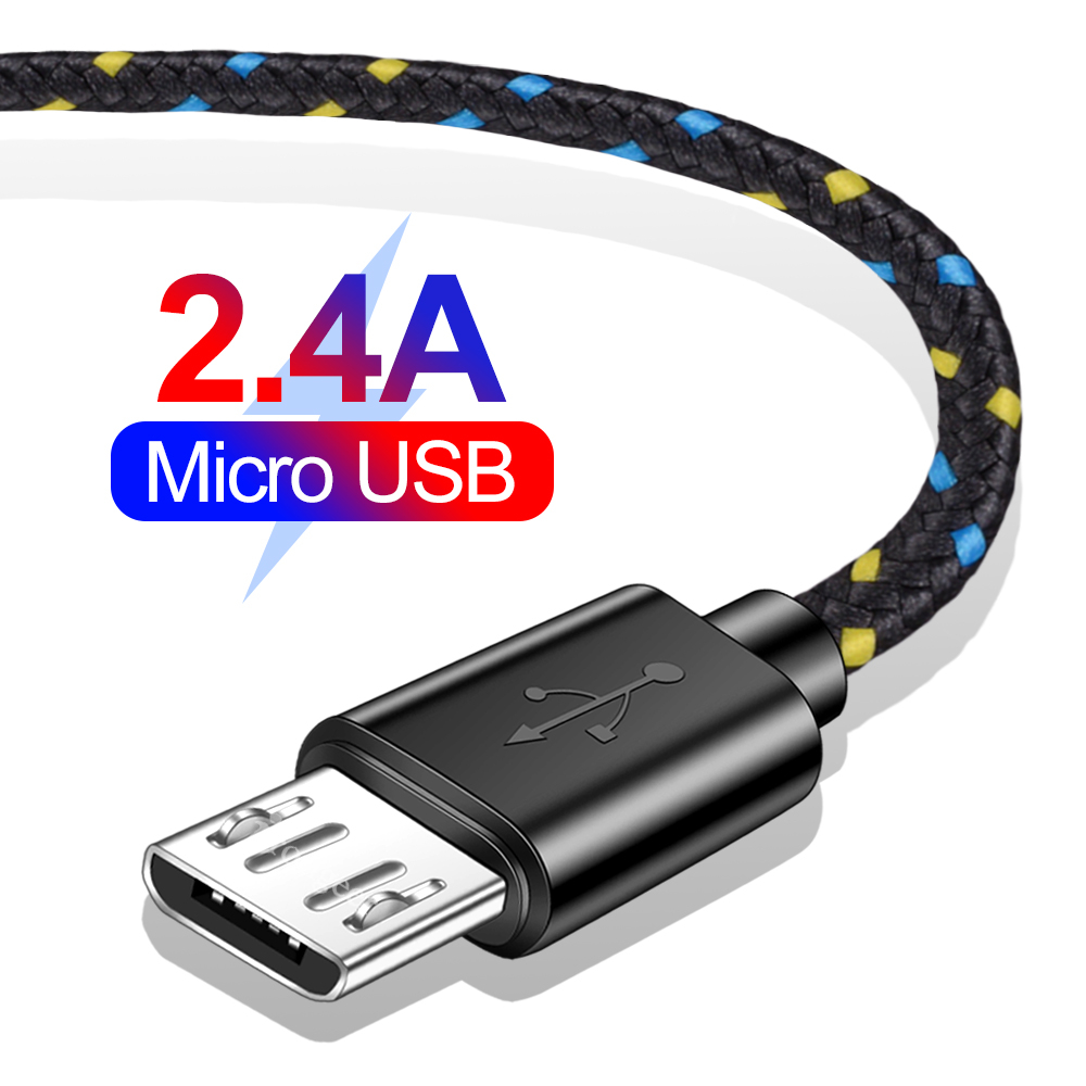 2A Micro USB Data Charger Cable 1M 2M 3M Nylon Braided Microusb Fast Charging Charger Cable For Samsung Xiaomi Android Phone