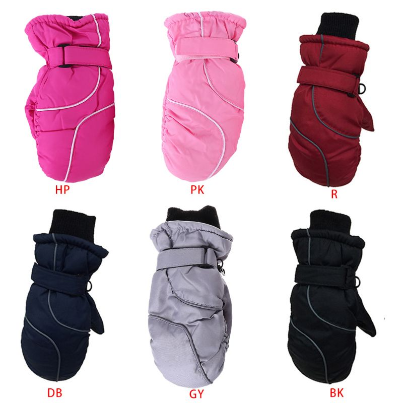 Kleinkind Kinder <font><b>Winter</b></font> Schnee Ski Handschuhe Wasserdicht Winddicht Einfarbig Patchwork Verdicken Warme Einstellbare Stretchy Fäustlinge 5-9T image