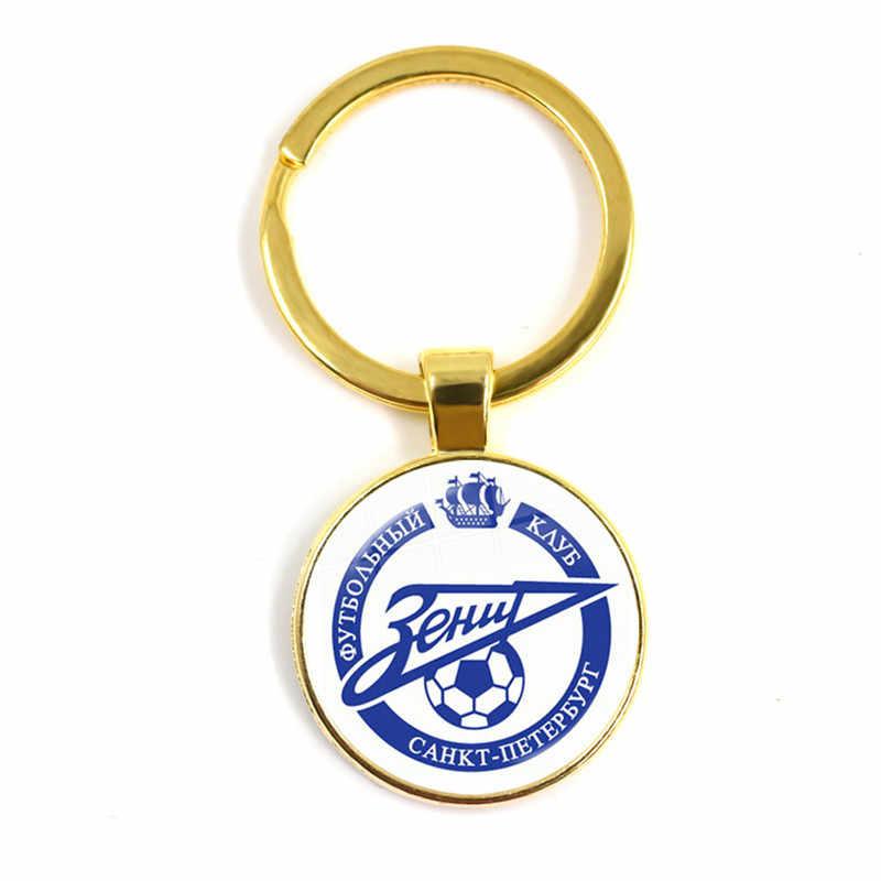FC Zenit Saint llavero Rusia fútbol equipo símbolo fútbol LOGO 25mm vidrio cabujón llavero soporte para los Fans de regalo