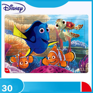 Disney 30 Piece Princess Frozen Mickey Wooden Box Puzzle Early Education Children Bottom Box Puzzle Toys For Children(China)
