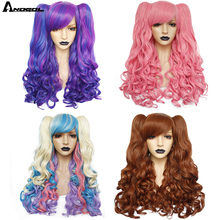 ANOGOL yüksek sıcaklık Fiber Lolita uzun vücut dalga siyah sarışın kahverengi Cosplay peruk yan saçak sentetik peruk 2 Ponytails