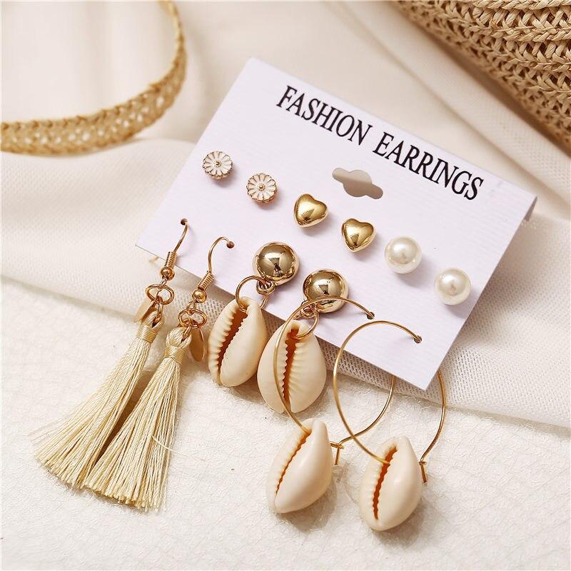 6 pair lot Bohemian Brincos Vintage Tassel Shell Conch Daisy Drop Earrings set for Women 2019 Gold Color Drop Earrings Boho in Drop Earrings from Jewelry Accessories