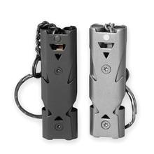 1 pçs ao ar livre alta decibel portátil chaveiro apito de aço inoxidável tubo duplo emergência sobrevivência apito ferramentas multifuncionais