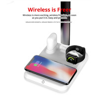 For QI Samsung Galaxy S10 4 in1 LED Desk Lamp Wireless Charger for iPhone Xs/ Watch/Xr Touch On/off Switch US Bwireless charger