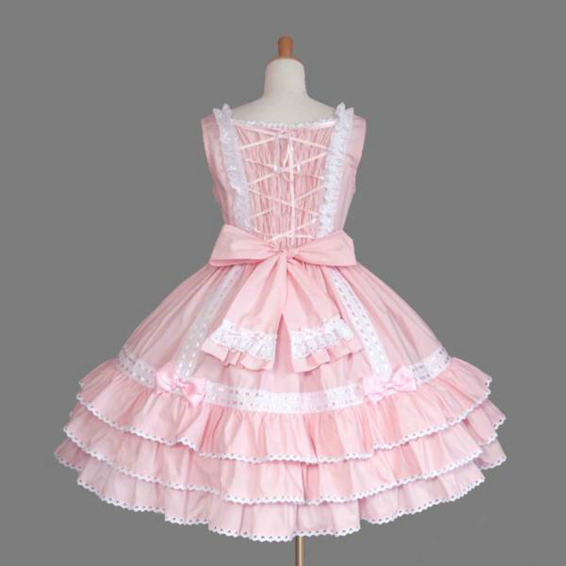 Pink sweet lolita dress kawaii girl lace bowknot ball gown victorian dress retro palace princess gothic lolita loli jsk cos