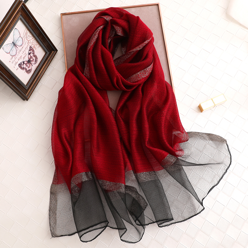 100% Silk Scarf Women's Fashion Large Sunscreen Shawls Wraps Lightweight Striped Pattern Wool Wraps For Woman