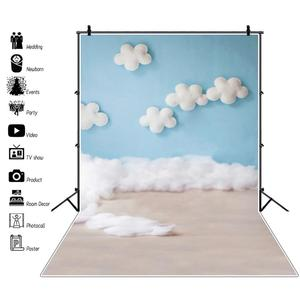Image 1 - Laeacco Baby Shower Backdrops Newborn Photophone Birthday Photozone Blue Sky White Clouds Balloons Photography Backgrounds Props