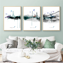 3 Pieces Modern Abstract Watercolor Elk Canvas Painting Wall Art Nordic Print Scandinavian Decoration Picture