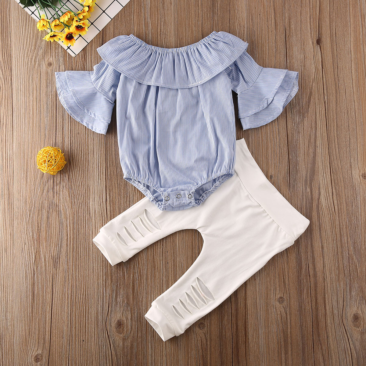 Pudcoco Newborn Baby Girl Clothes Off Shoudler Striped Ruffle Flare Sleeve Romper Tops Ripped Long Pants 2Pcs Outfits Clothes