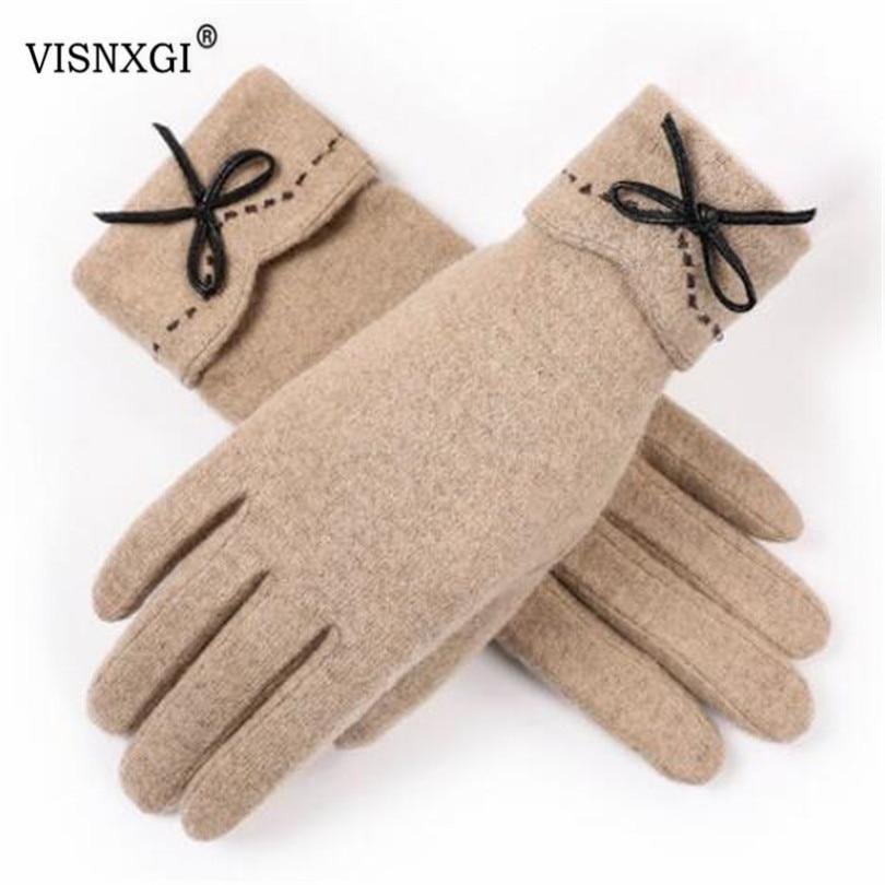 VISNXGI Design Fashion Women Gloves Autumn Winter Cute Button Warm Warmer Mitts Full Finger Mittens Women Cashmere Female Gloves