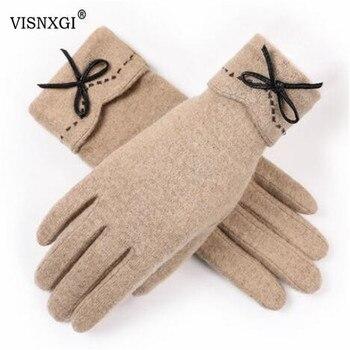цена на VISNXGI Design Fashion Women Gloves Autumn Winter Cute Button Warm Warmer Mitts Full Finger Mittens Women Cashmere Female Gloves