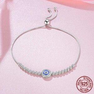 Image 3 - TONGZHE yaz koleksiyonu mavi şanslı göz bilezik 925 som gümüş bileklikler Charm temizle CZ kadınlar erkekler için güzel takı