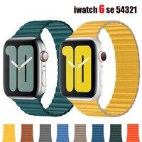 Leder schleife Strap Für Apple Uhr Band 44mm 42mm 40mm 38mm 44mm Magnetische gürtel armband iWatch serie 6 SE 5 4 3 2 1