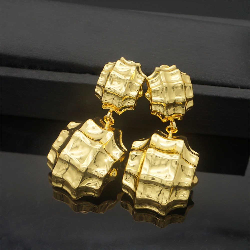ทองแดง Drop ต่างหูสีทองยาวต่างหูแฟชั่นผู้หญิงเครื่องประดับของขวัญแม่