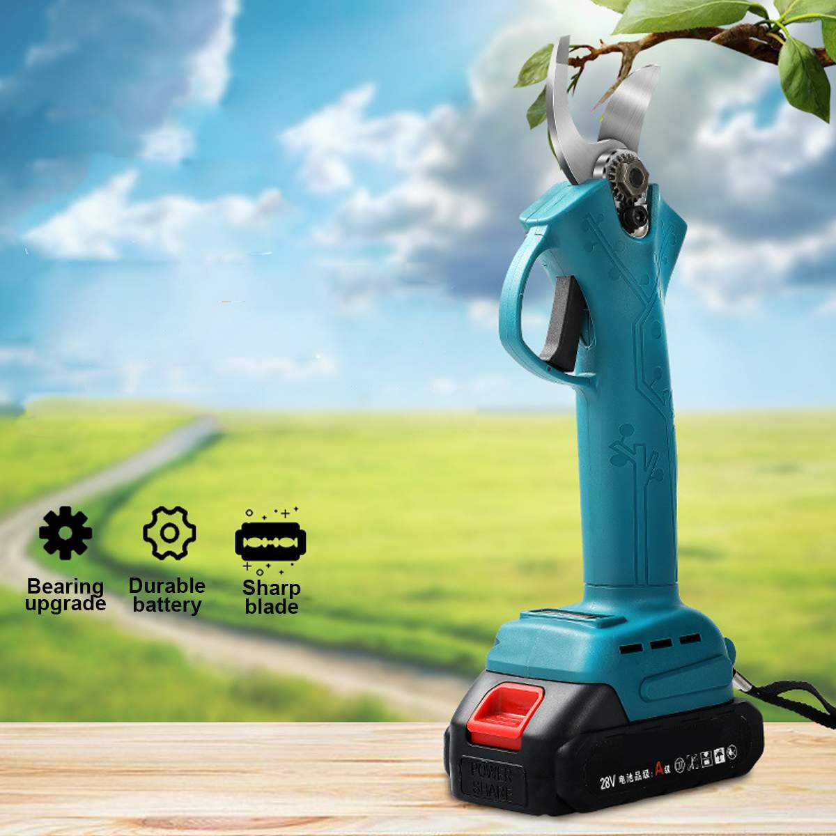Battery 21V Garden Shear Cutter Branch Secateur Pruner Rechargeable Pruning Electric Ion Cordless Scissors 2 Lithium With 88VF