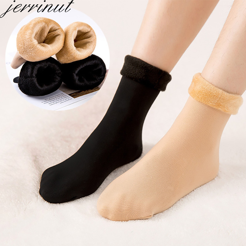 Warm Winter Women Socks Black Solid Color Thicken Breathable Soft Socks Floor Casual Fashion Cashmere Cotton Socks1Pair Jerrinut