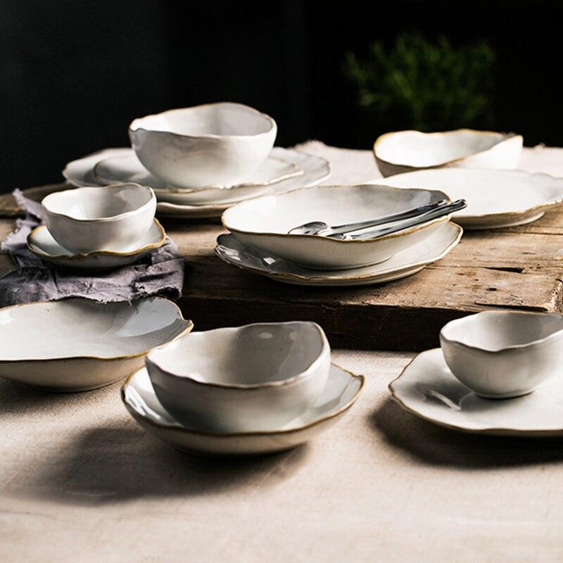 KINGLANG service de table ménagère nordique | 2/4 personnes, céramique de la maison service de table de forme irrégulière assiette